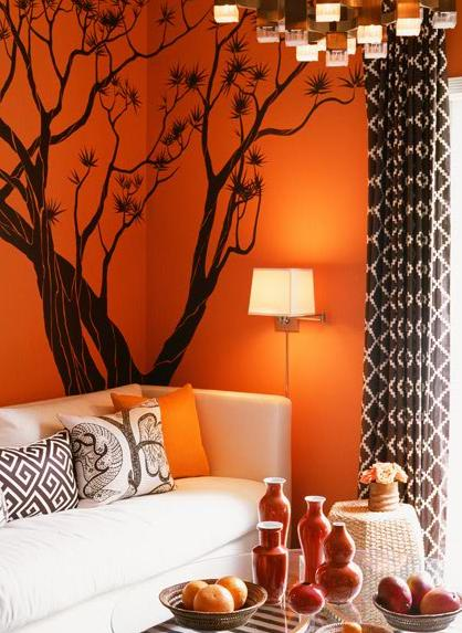 El color naranja en las paredes del living for Chocolate and orange living room