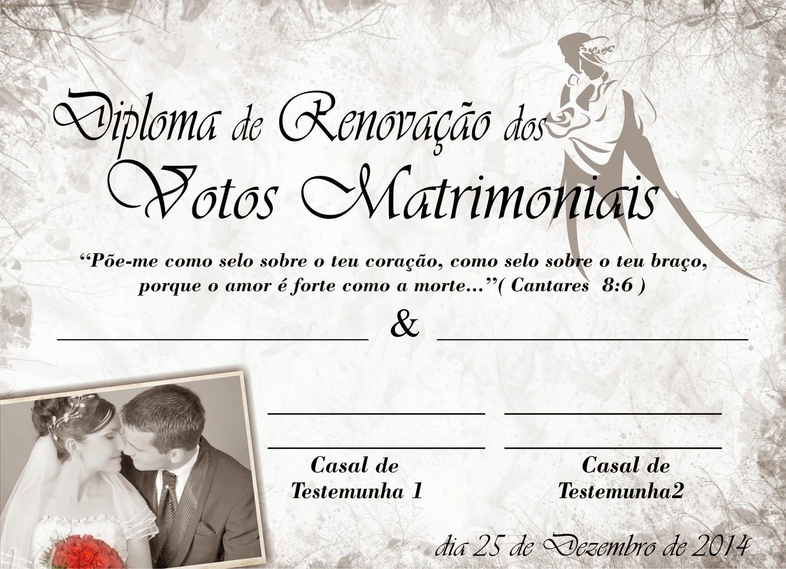 Diploma De Renova 231 227 O Dos Votos Matrimoniais Fe Arte