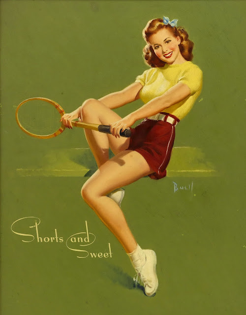 vintage pin up tennis players