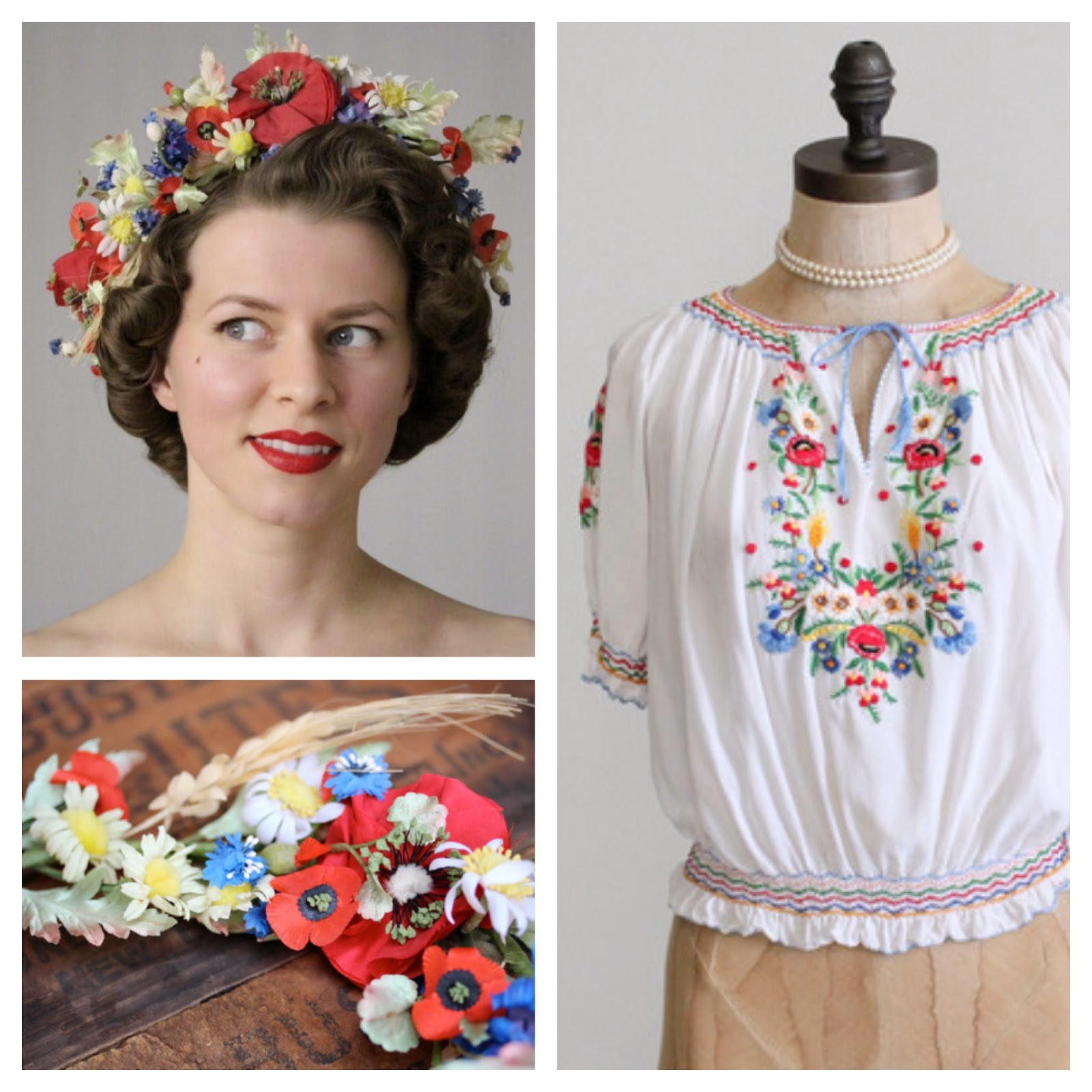 1930s Summer Love #1930s #blouse #peasant #folk #hair #wreath #poppy