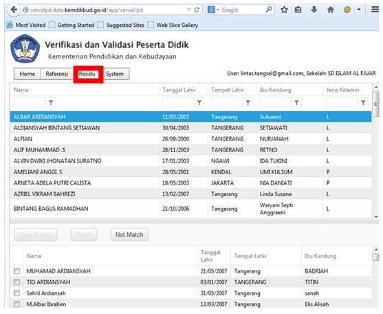 Halaman Residu untuk Verifikasi dan Validasi NISN