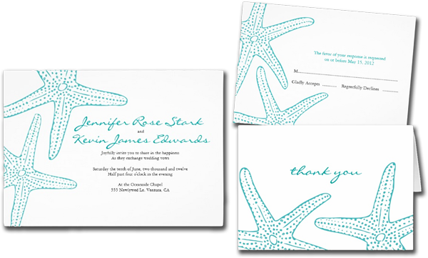 Turquoise Starfish Wedding Invitations