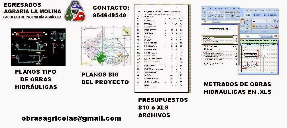 DISEÑO AGRICOLA : PLANOS CAD Y SIG METRADOS Y PRESUPUESTOS S10  EN RIEGO
