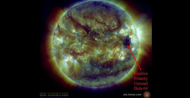 The indicated region of the Sun was the source of June 9 CME that triggered geomagnetic storm on June 14. Credit: NASA/SDO