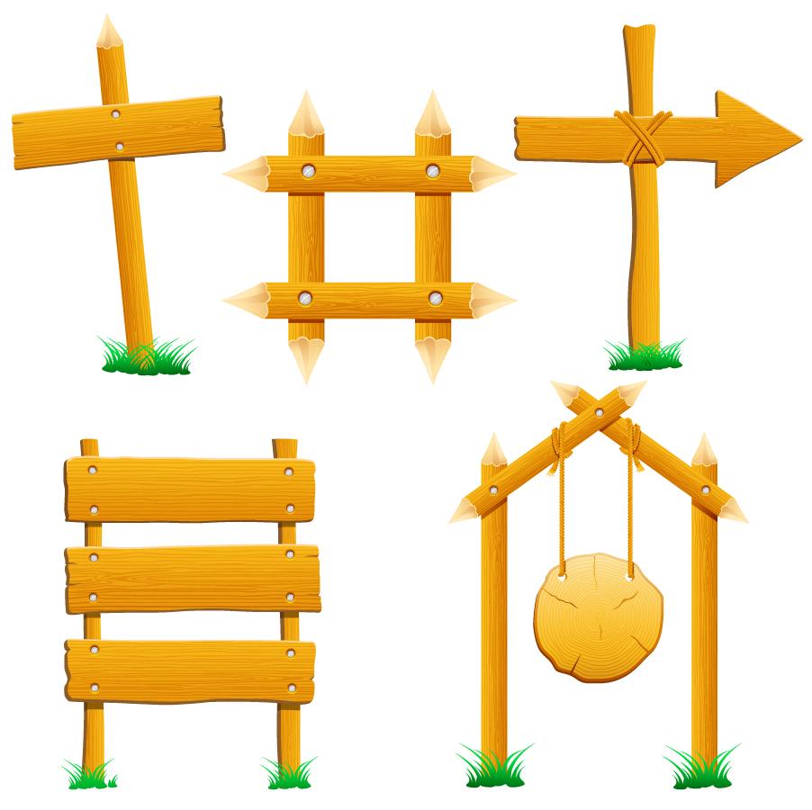 木製の案内板 wood signs イラスト素材