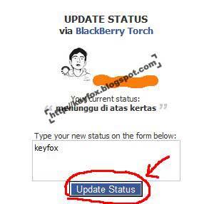 status yang akan kamu update lalu klik update status dan