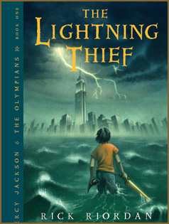 "Book cover: ""The Lightning Thief"" by Rick Riordan"