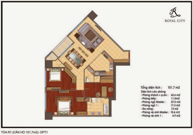 Chi tiết thiết kế căn hộ toà R1 chung cư Royal City diện tích 151.7 m2