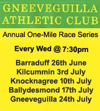 One-Mile race series in Cork & Kerry - Every Wed 26th June to 24th July 2019