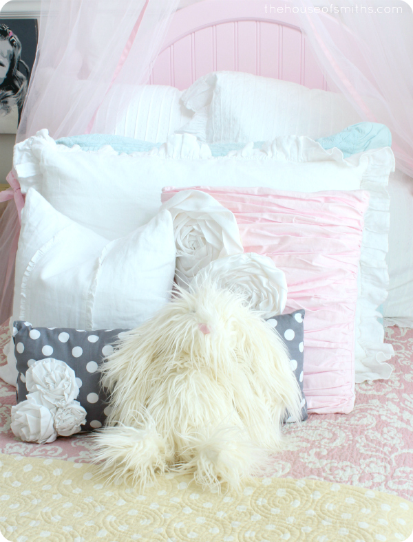 Pink, white and gray bedding in girly bedroom - thehouseofsmiths.com