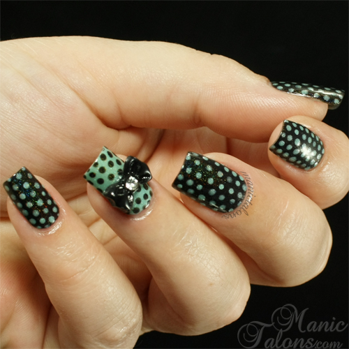 Manic Talons, Black and Mint Dot Manicure, KBShimmer, Holographic Nail Art