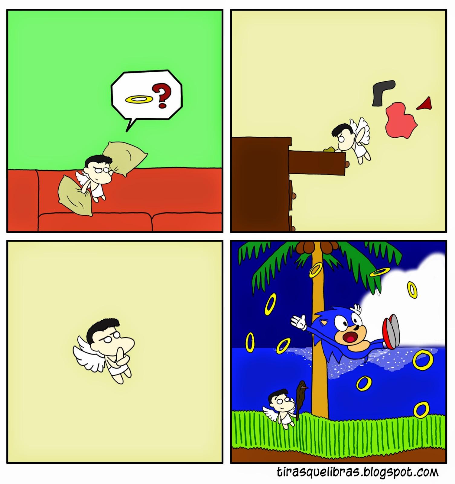 webcomic ye lo que hay, el angelito no encuentra su halo y va a robarle los suyos a Sonic