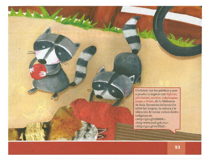 Dos mapaches español lecturas 2do bloque 5/2014-2015