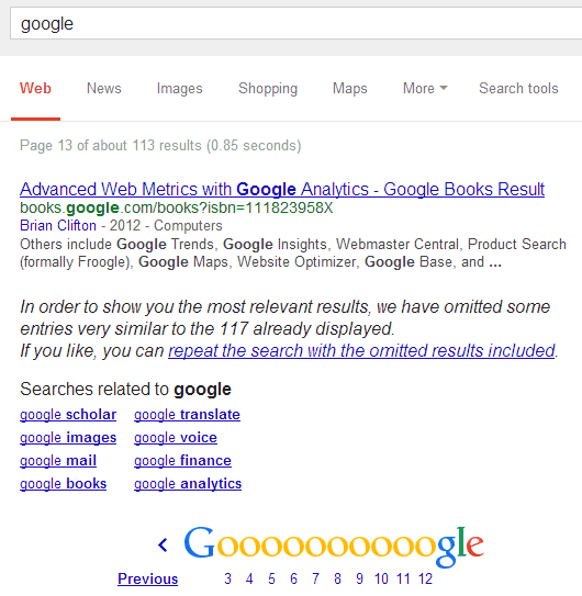 Search Results: Google Hides Too Many Search Results
