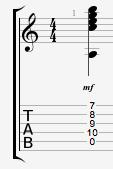 Amin9 guitar chord