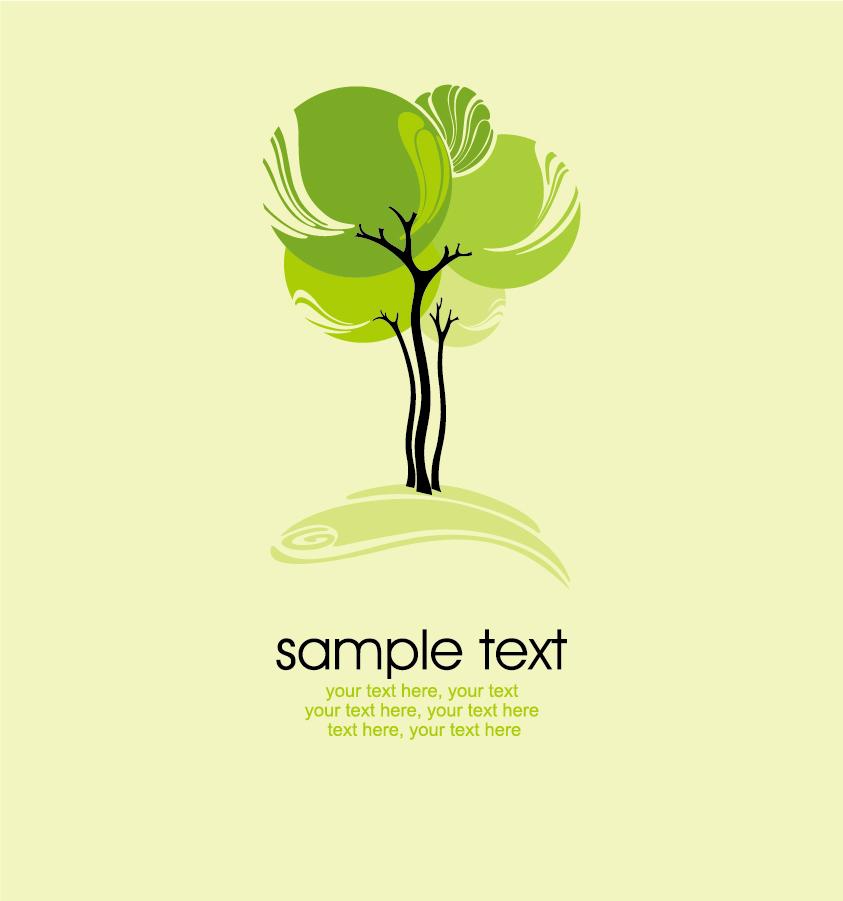 曲線がお洒落な緑の樹木 plant green tree illustration イラスト素材