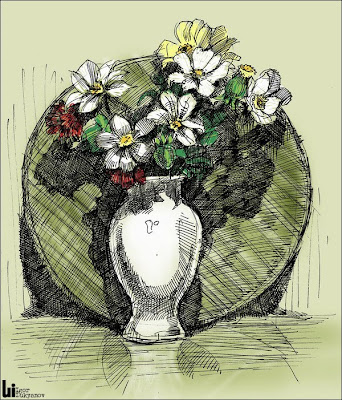 vase with flowers - cross hatching art, pen and ink drawing