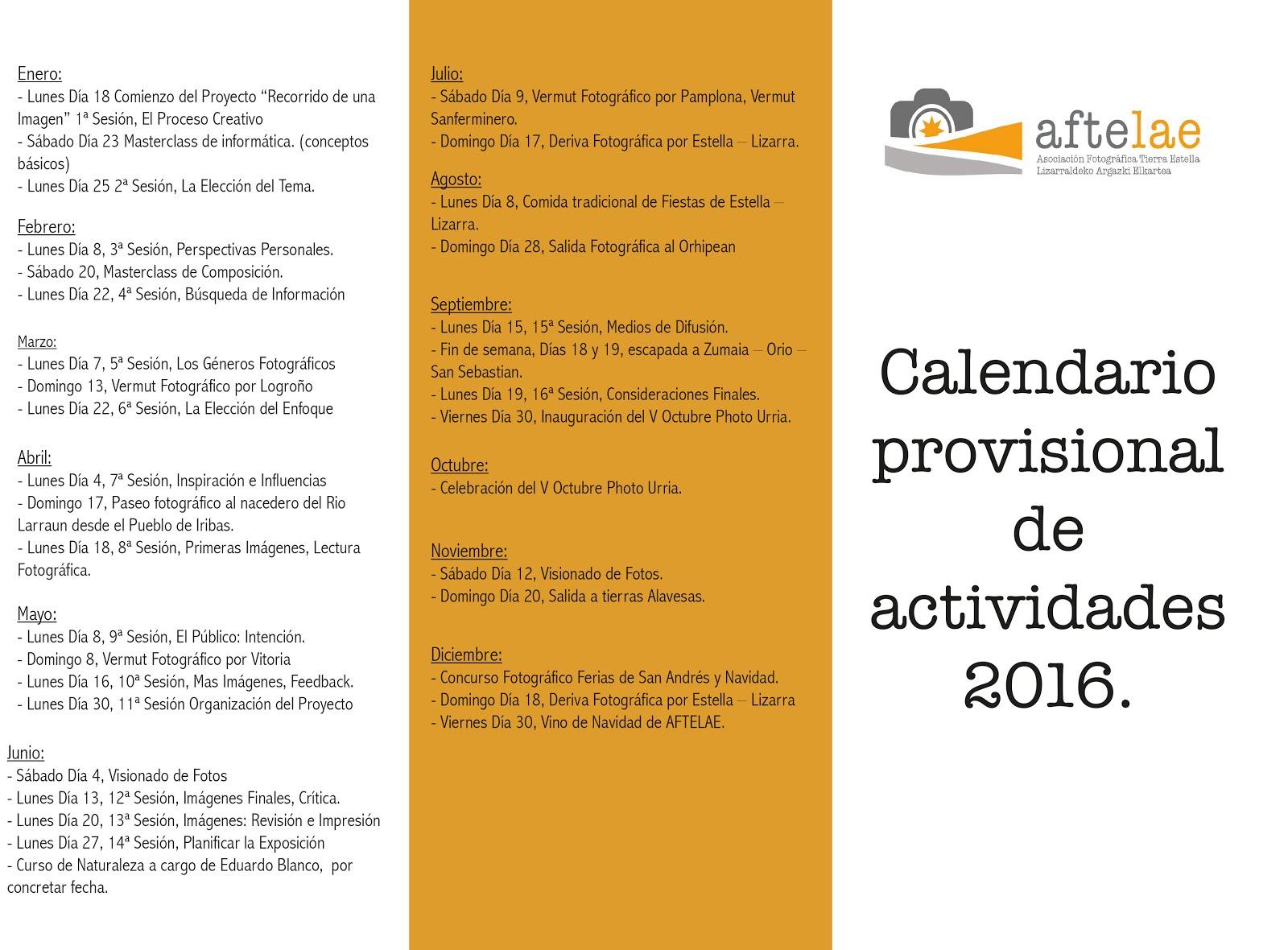 Calendario de actividades 2016