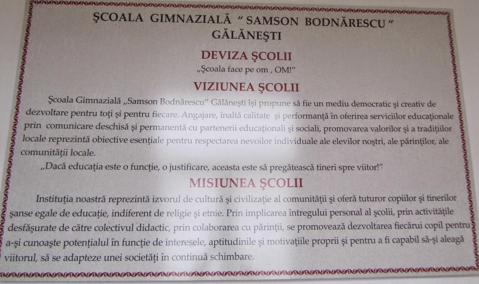 DEVIZA-VIZIUNEA-MISIUNEA SCOLII