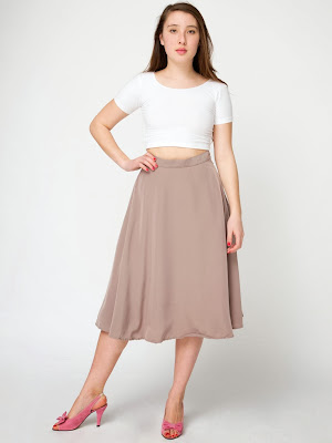 American Apparel Sand Midi Skirt