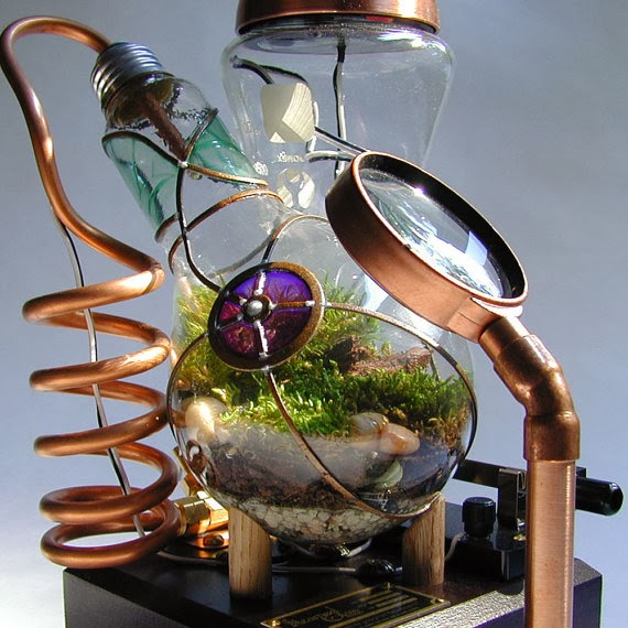 Steam Punk assemblage unique Terrarium Art by Tim Whitteveen