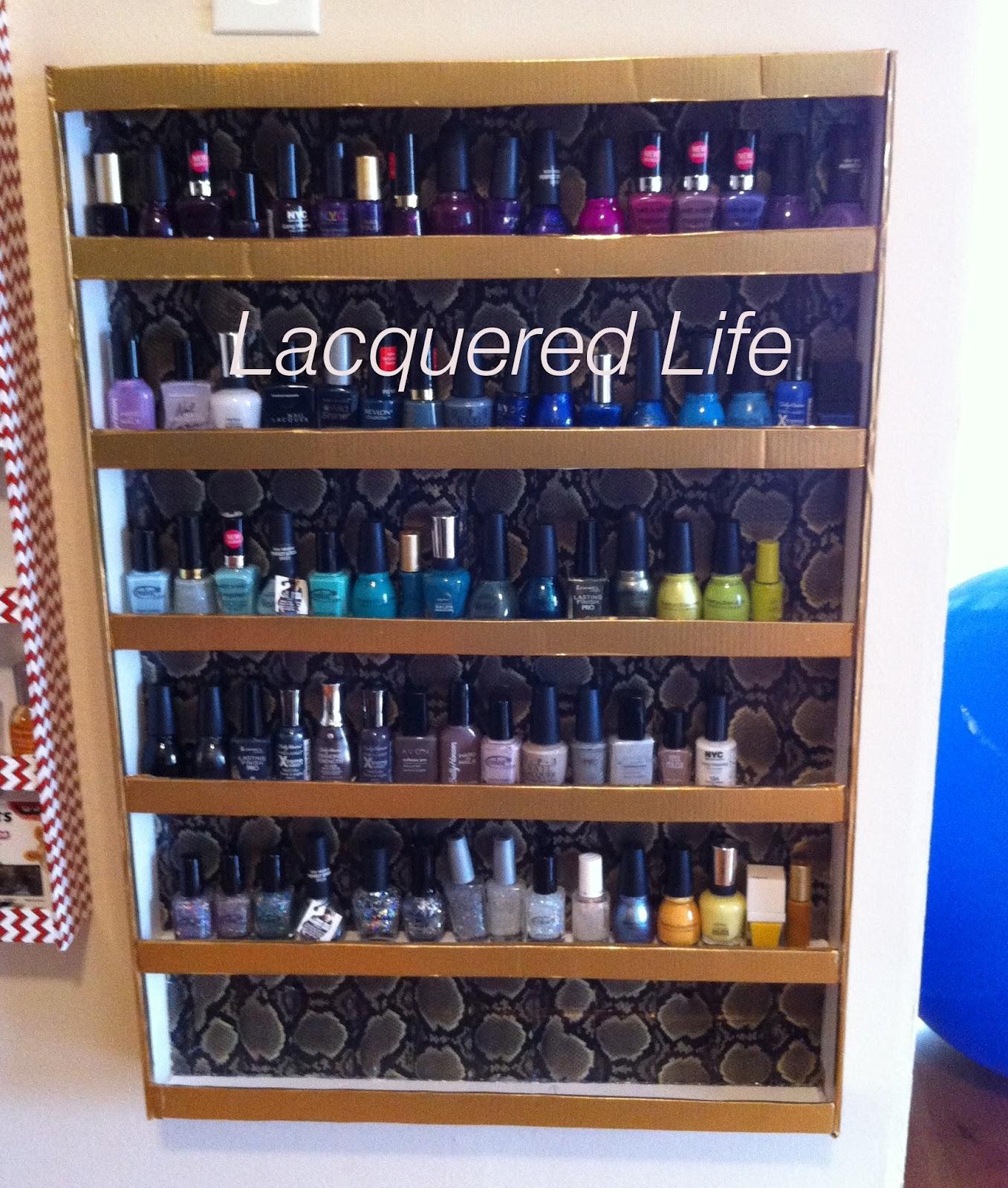 diy nail polish rack lacquered life. Black Bedroom Furniture Sets. Home Design Ideas