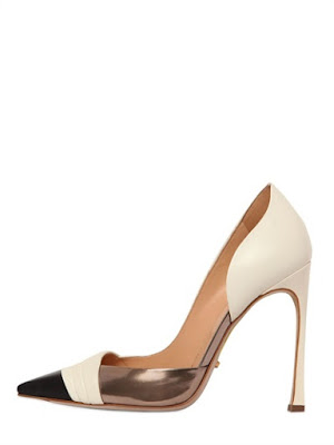 SSergio Rossi black, white and metallic d'orsay pump