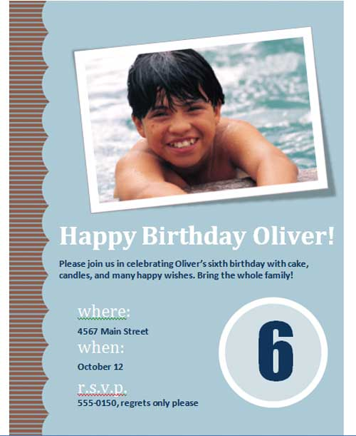 Preview of Third Birthday Invitation Template,
