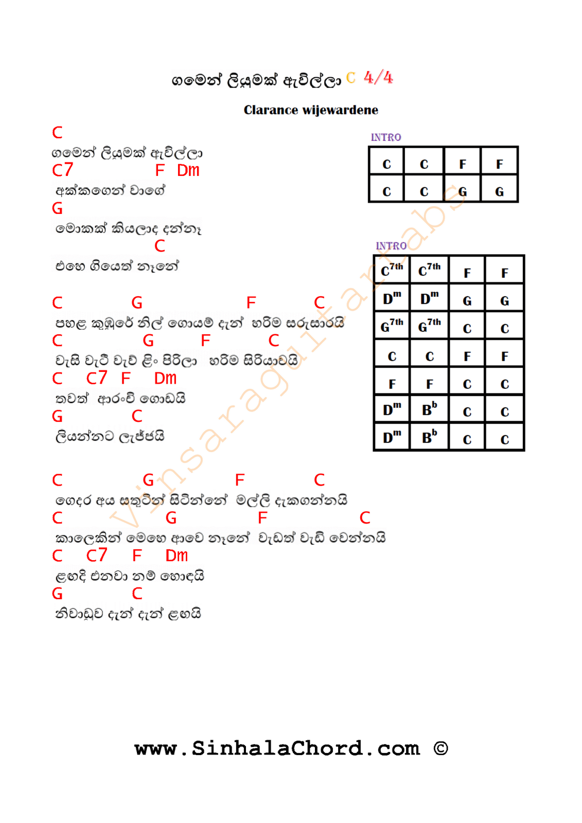 Gamen Liyumak Guitar Chords Sinhala Guitar Chordssinhala Songs