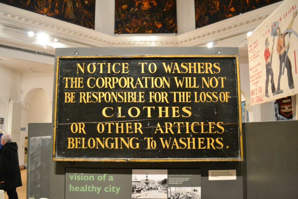 washing sign wooden board vintage old people's palace glasgow