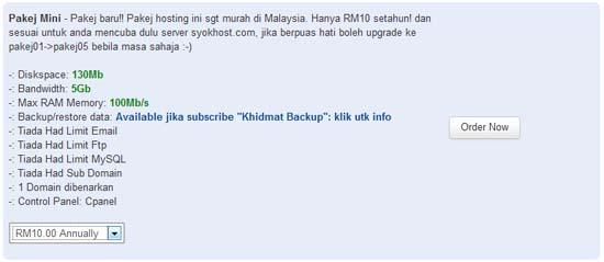 Hosting Murah Serendah RM10 Setahun Untuk Blogger