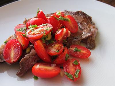 Tomato Mint Salsa with Strip Steak