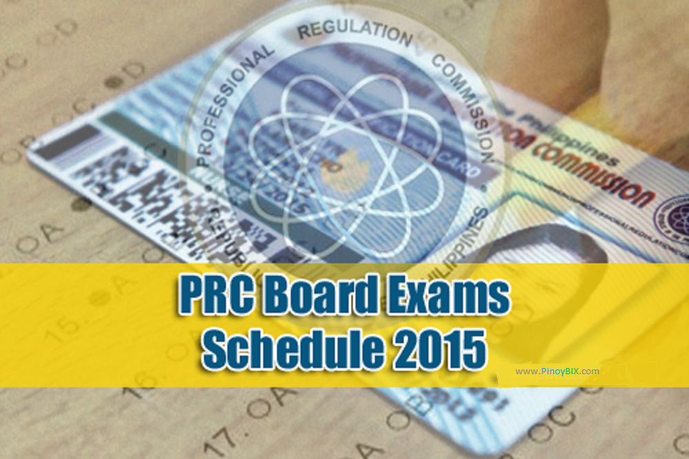 PRC Board Exam Schedule 2015