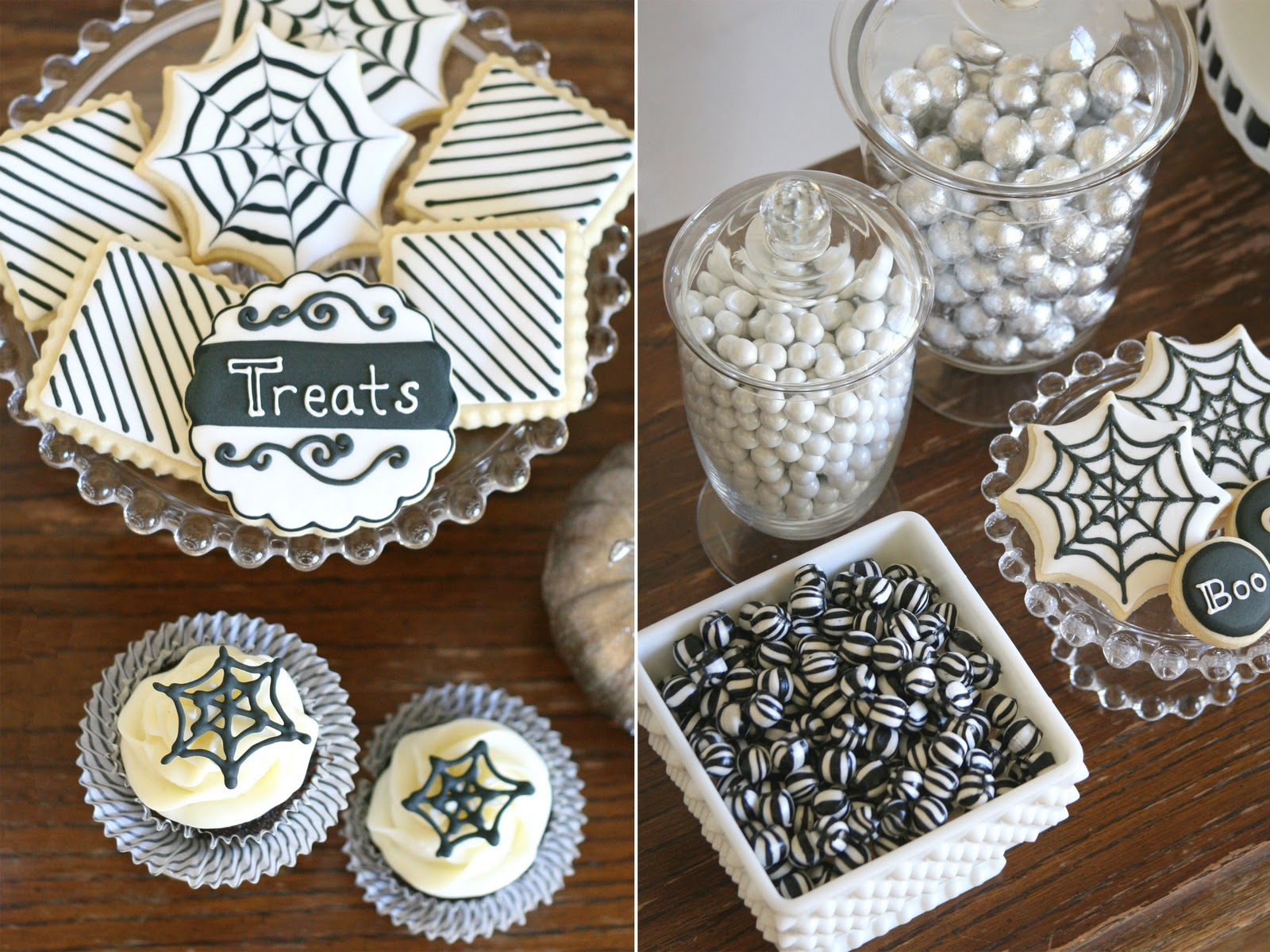 black and white halloween dessert table