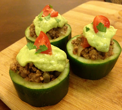 greek-style beef cucumber cups