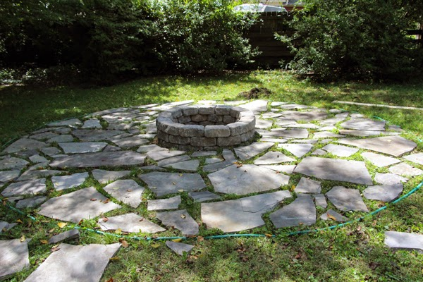 flagstone patio with fire pit. some like a project flagstone patio with fire pit