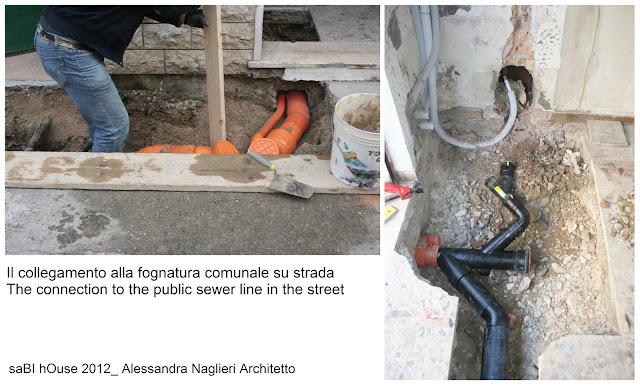 allaccio alla fognatura comunale connection to the public sewer line