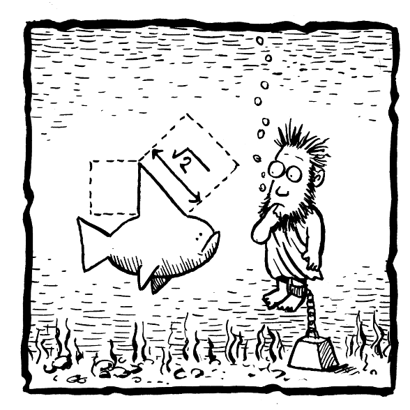 A cartoon of Hippasus under water after being thrown overboard by the disciples of Pythagoras for arguing that irrational numbers exist -OR- by the gods as punishment for disseminating the knowledge of said numbers. As he drowns, he is contemplating the hypotenuse of a shark's triangular fin, which would be the square root of two, an irrational number.