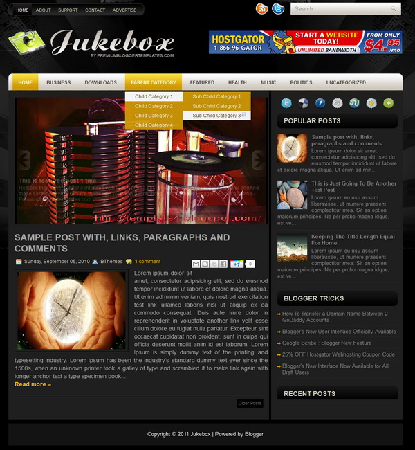 Jukebox Blogger Template