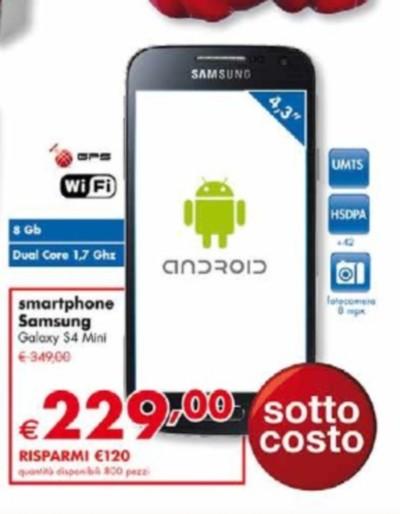 Prezzo Panorama Samsung Galaxy S4 Mini in sottocosto da inizio Maggio