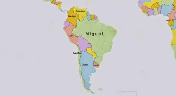 los nombres más populares de cada país