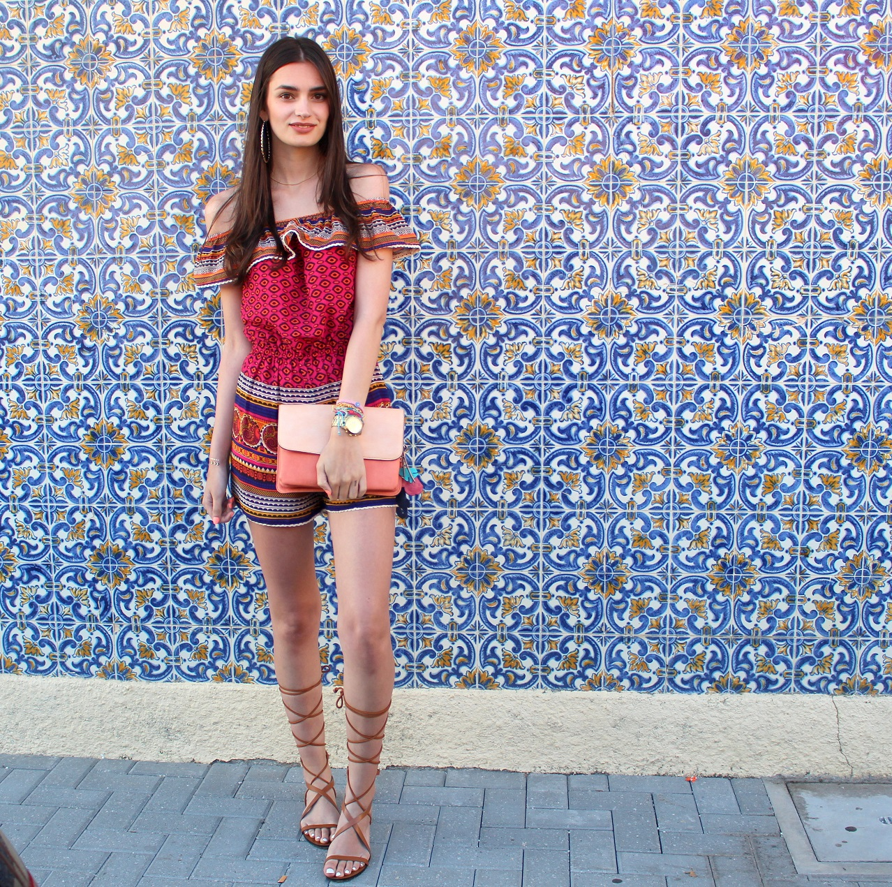 peexo fashion blogger wearing playsuit and lace up sandals