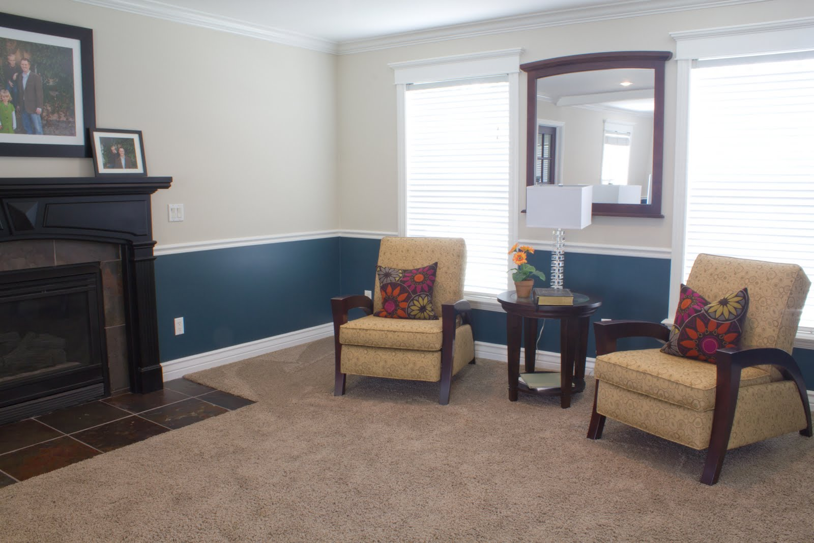 Paint ideas for rooms with chair rails - This Is A Quick Shot Of The Living Room We Helped The Client Decide What Color Teal And Where To Paint It I E Above Or Below The Chair Rail Or Do You