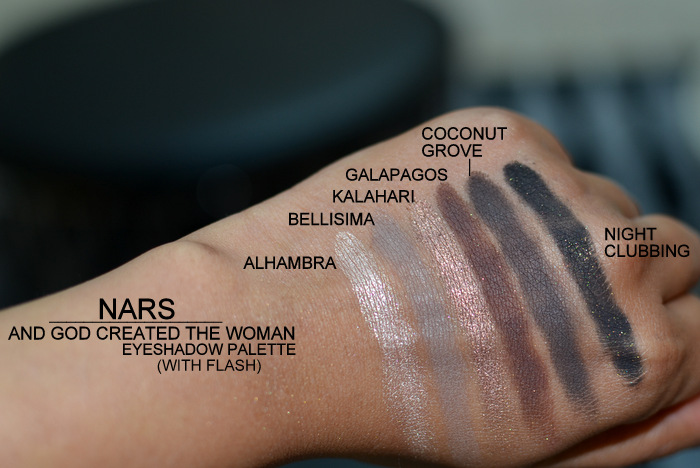 NARS God Created Woman Palette Eyeshadow Makeup Set Alhambra Bellisima Kalahari Galapagos Coconut Grove Night Clubbing Indian Beauty Blog Swatches Darker Skin