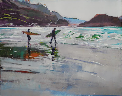 """Surf Date"" Monotype on Board 19.5 x 24"