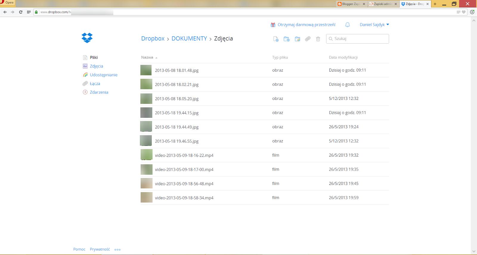 Strona WWW z plikami, które przekopiowaliśmy do folderu Dropbox na naszym komputerze