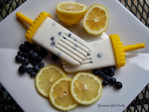 Lemon-Coconut-Blueberry Frozen Greek Yogurt Pops