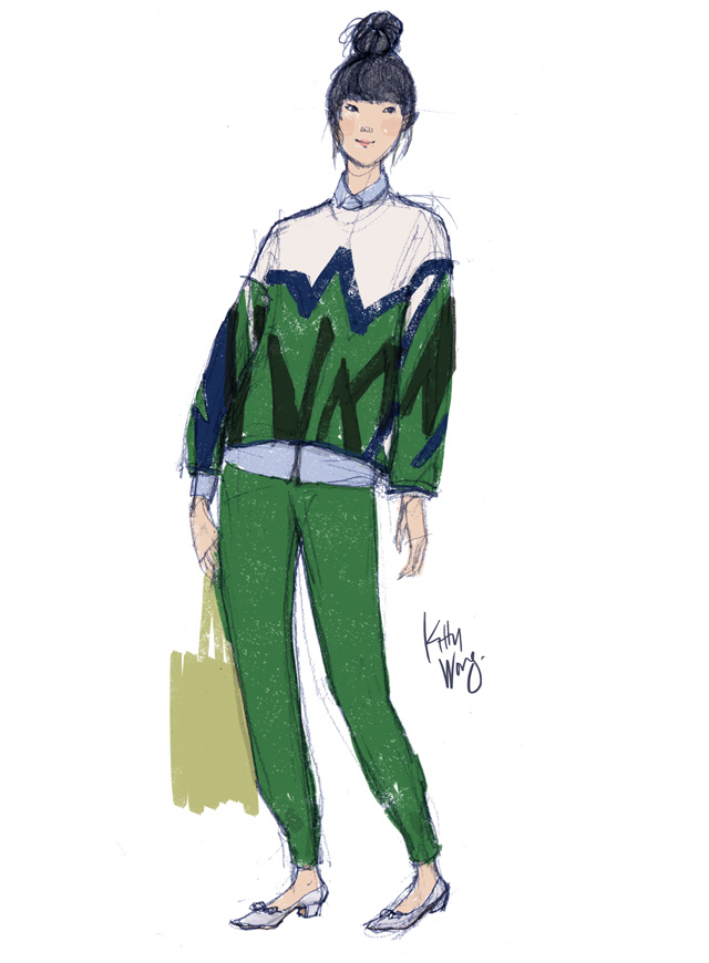 Susie Bubble sketch in green streetstyle drawing, diagonal stripes.