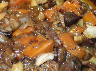 Braised beef removed from the heat