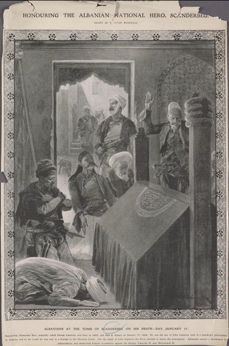 Albanians at the tomb of Scanderbeg